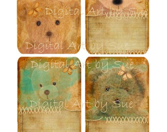 Instant Digital Download - Teddy Bear Notes - Quality  Printables - Scrapbook - Crafts - tags