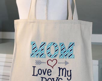 MOM Love My Boys Grocery Tote - Mom ToteBag, Mom Tote, Love My Boys ToteBag
