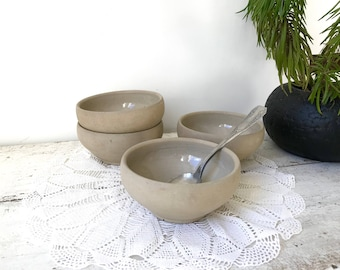 Four vintage bowls / French brown terra cotta / varnished ceramic / casserole bowl / 1950s