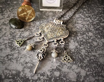 """Raven"" labradorite triskel birds bird crow wicca magic witch Crow skulls print bib necklace silver esoteric jewelry creation"
