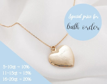 Personalized Heart Locket Necklace, Initial Locket, Gold Heart Locket, Personalized Gift, Locket Necklace, Bridesmaid
