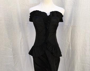 Vintage Karen Okada for David Howard 80's Black Party Dress