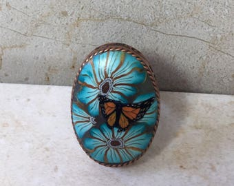 Teal and Copper Butterfly Ring