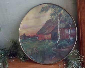 Vintage Handmade Round Farm by the Stream Picture