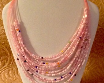 """16"""" Pink Pastels Multistrand Seedbead Necklace w/2"""" ext."""