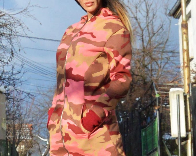 Extravagant Hooded Cotton Sweatshirt, Warm Long Zipper Jacket, Sport Pink Military Sweatshirt by SSDfashion