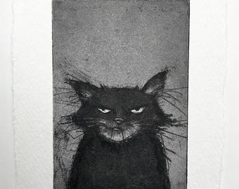 Grumpy Cat etching - Original handpulled print - 10 x 15 cm (black & white art, black cat illustration, grumpy cat print, cat art)