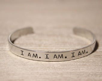 I AM. I AM. I AM. - The Bell Jar Bracelet - Sylvia Plath - Poetry Fan Gift - Book Lover Jewelry - Stamped Metal Bangle - One Size Fits All