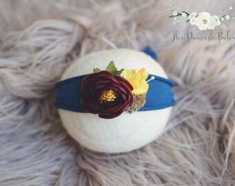 Burgundy Blue Newborn Tieback, Jersey Headband, Floral Flower Tieback, Organic Natural, Photography Props, Newborn Headwrap, Jewel Tones