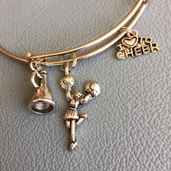 Cheer Charm Bracelets: Silver Cheerleader Bangle Inspired By Charm Bracelet Cheer