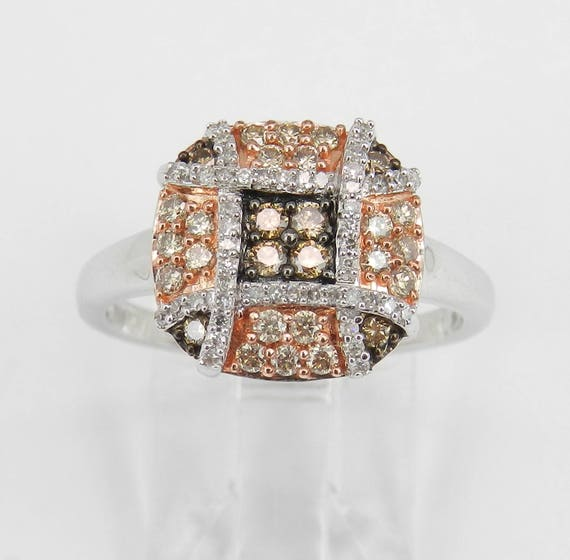White and Cognac Cluster Diamond Ring Rose and White Gold Right Hand Ring Size 7