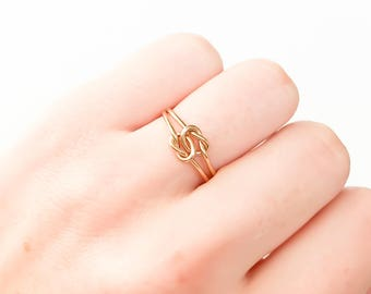 Double Knot Ring- 14K Yellow Gold-filled