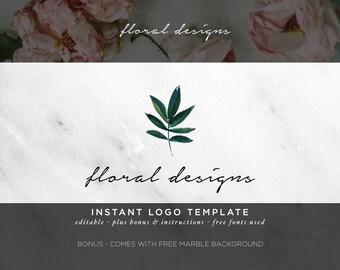 Calligraphy Logo - Watercolor Logo - DIY Logo PSD Template - Green Leaf - Feminine Logo - Photography Logo - Business Logo - Modern Design 8