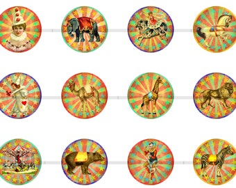 """1"""" Vintage Circus Pins, Flatback Buttons or Magnets 12 Ct. Set C"""