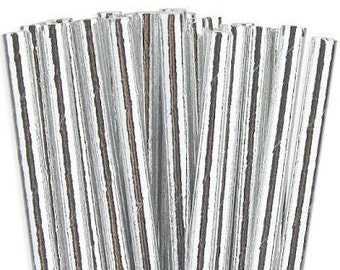 25ct. Silver Metallic Foil Paper Party Straws. Cake Pop Sticks. Drinking Straws. Party Supplies. Dessert Table. Baking Supplies.