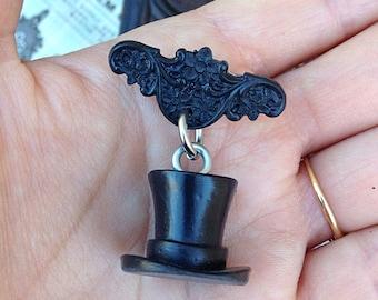 Undertaker Brooch - Victorian Antique Hand Cast Resin Handmade - Dangle Brooch Novelty Pin - Macabre Creepy Spooky Odd
