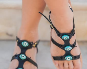 Handmade Leather Sandals, Evil Eye Sandals, Black Leather Sandals, Women EU 40 , Womens US 9, Handmade leather Sandals, Greek Sandals, Flats