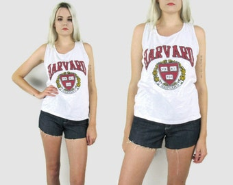80s Harvard Tank Top, Size Small, Medium, Grey White, University, Ivy League