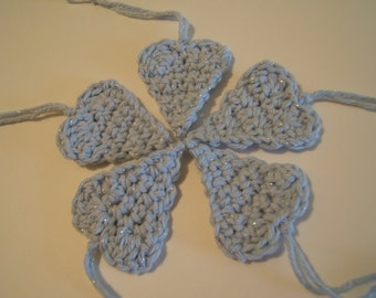 Heart ornaments, crochet, blue and silver, tags (5)