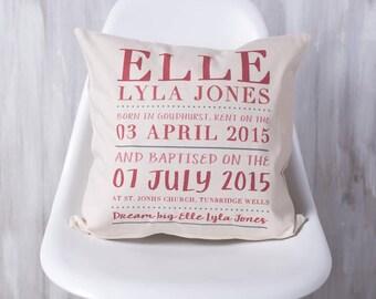 Personalised Christening Cushion Pillow