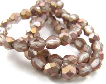 Matte Apollo Gold 6mm Facet Round Czech Glass Fire Polished Beads #1784