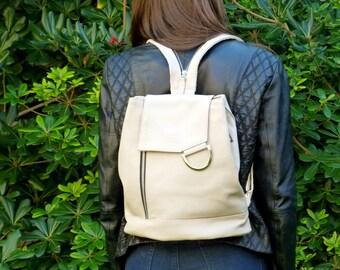 Cowhide backpack, leather Backpack , handmade rucksack, student backpack, chalk leather, women backpack, multifonction backpack, purse