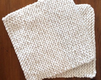 Hand Knit Cotton Pot Holders - Set of 2 - Off White