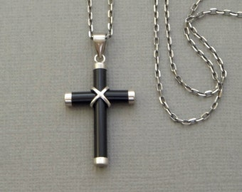 Vintage Modernist Sterling CROSS Necklace BLACK Onyx Pendant Signed Long Womens 925 CHAIN, Religious Gift for Him and Her