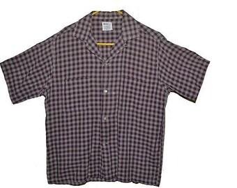 Vintage 60s Mens shirt loop collar  M great check great collars
