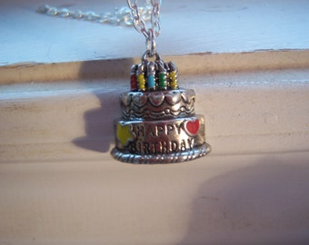 Birthday Cake Necklace - Happy Birthday Necklace - Free Gift With Purchase