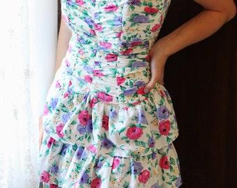 Vintage Sundress- 100% Cotton Floral- Strapless Sweetheart Neckline- Elasticated Back- size 5/6 Junior