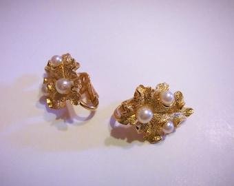 Vintage earrings, Crown Trifari gold tone leaf earrings with faux pearls, Trifari clip on 1960s pair of earrings