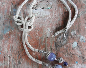 Infinity Necklace Sterling Silver Kazaziye Handwoven Infinity Jewelry with Amethyst