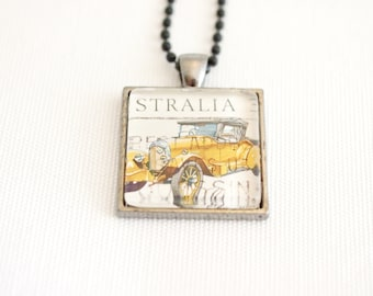 vintage car pendant, 1924 Chic Car necklace, Australian postage stamp, upcycled vintage, father's day