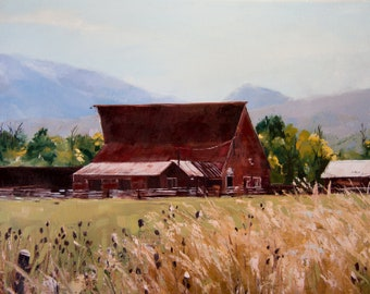 Red Barn, 11x14, Original oil painting