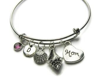 Beach Theme Bangle Bracelet, Mom Bangle, Mom Bracelet, Beach Bracelet, Shell Bracelet, Mom Beach Bracelet, Personalized