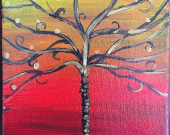 """Acrylic Painting """"Joshua Tree in Red and Gold"""""""