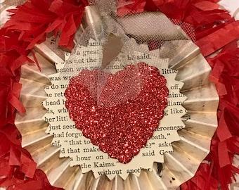 Valentine Paper medallion/Red Gold paper rosette/Valentine gift tag