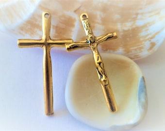 Cross pendant Tibetan Style gold Antique 36 x 19 x 2.5 mm, 1.5 mm hole