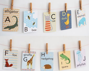Animal Alphabet Card Set, Nursery Wall Cards, Animal Alphabet Flash Cards, Alphabet Fine Art Prints, ABC Cards