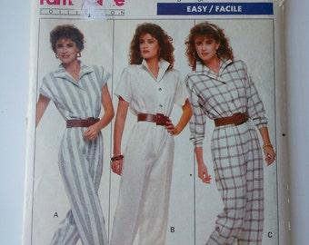 80s jumpsuit/Vintage jumper/80s jumper/short sleeve/ button down/ 1988 sewing pattern, Hip 40, Waist 30, Bust 38, Size 16, Butterick 6087