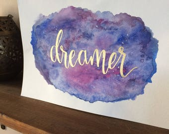 DREAMER Watercolour Painting / Gold Embossed, Valentines Gift, Gifts for Her, Gift Under 50, Gifts for the Home