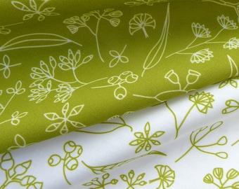 Cotton fabric, original Australian design, Gum Doodles Lime -  2 x fabric fat quarters