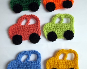 Crochet car applique - crochet car - SET OF 6