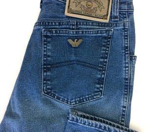 Vintage 90s Giorgio Armani Medium Wash High Waisted Stretchy Jeans