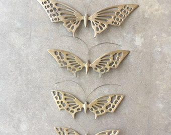 Brass Butterfly Wall Hangings Mid Century Boho Decor Vintage