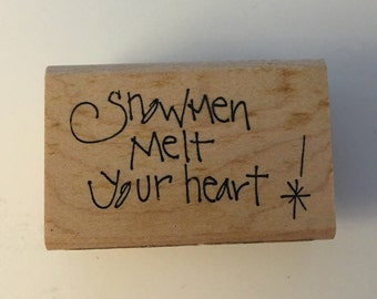 AAW/Printworks Wood Mounted Rubber Stamp. Melt Your Heart.