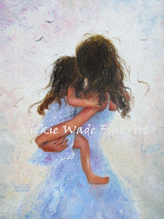 Mother And Daughter Art Print Loving Mother Hugs Hugging