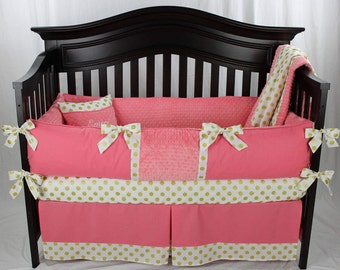 Coral and Gold Polka dots 5 piece Baby Girl Bedding