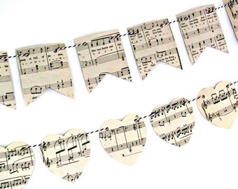 Music lover gift, Music lover art, Music wall art,  Music bunting flags, Upcycled music gift, Garland backdrop, Paper bunting, Vintage gift